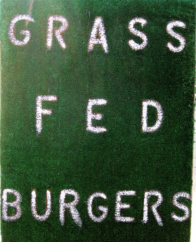 Grass Fed Burgers sign