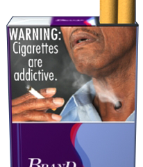 Man holding a cigarette.  Cigarette smoke comes from stoma (hole) in neck. Pictured on an example cigarette pack