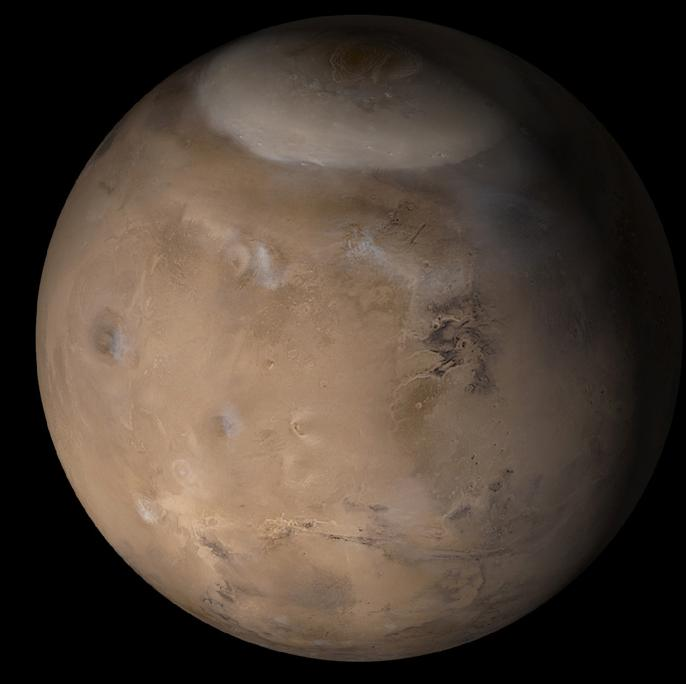 A color photo of Mars