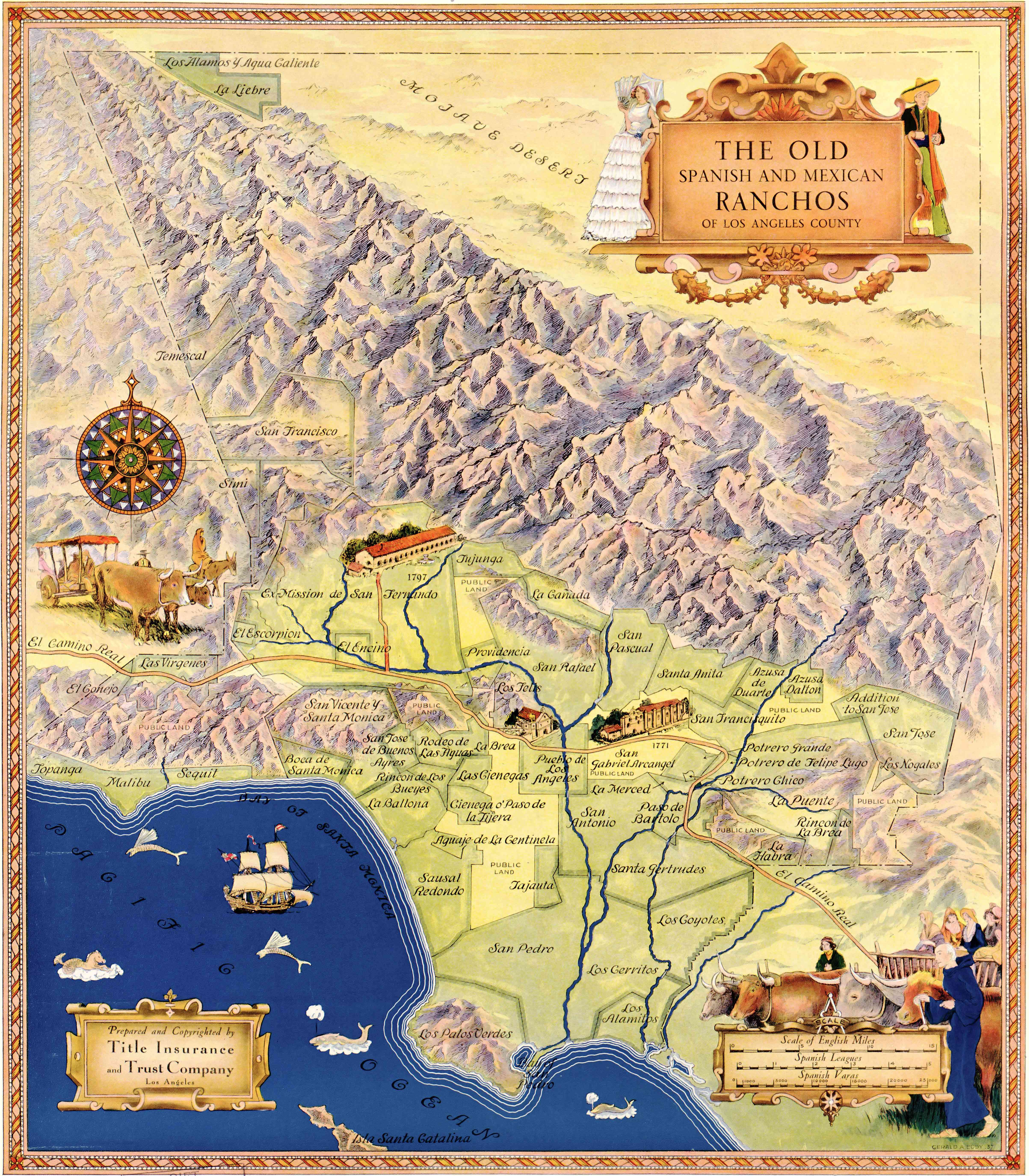 Map Of The Old Spanish And Mexican Ranchos Of Los Angeles County - City of los angeles jurisdiction map