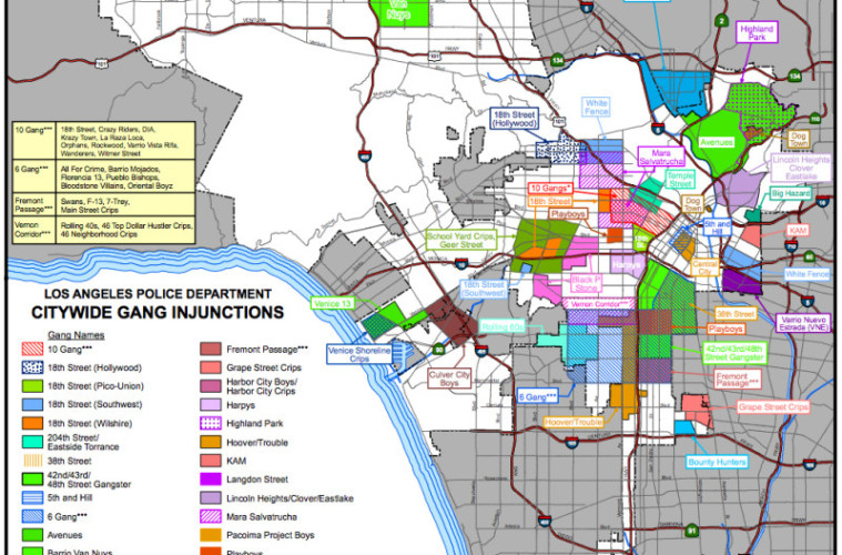 Gang Map Los Angeles Map of LAPD Citywide Gang Injunctions ~ L.A. TACO Gang Map Los Angeles