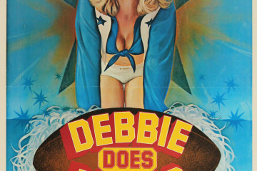 Debbie Does Dallas  (USA, 1978)  The second most-famous porno title in history (after Deep Throat), this hit the stroke-circuit at the height of Cowboys Cheerleader Mania, catapulting dewy blonde Bambi Woods to cult stardom, two sequels and then a fall off the face of the earth.  One of the most sought-after X-rated 1-sheets and rarely available in such pristine, linen-backed condition.