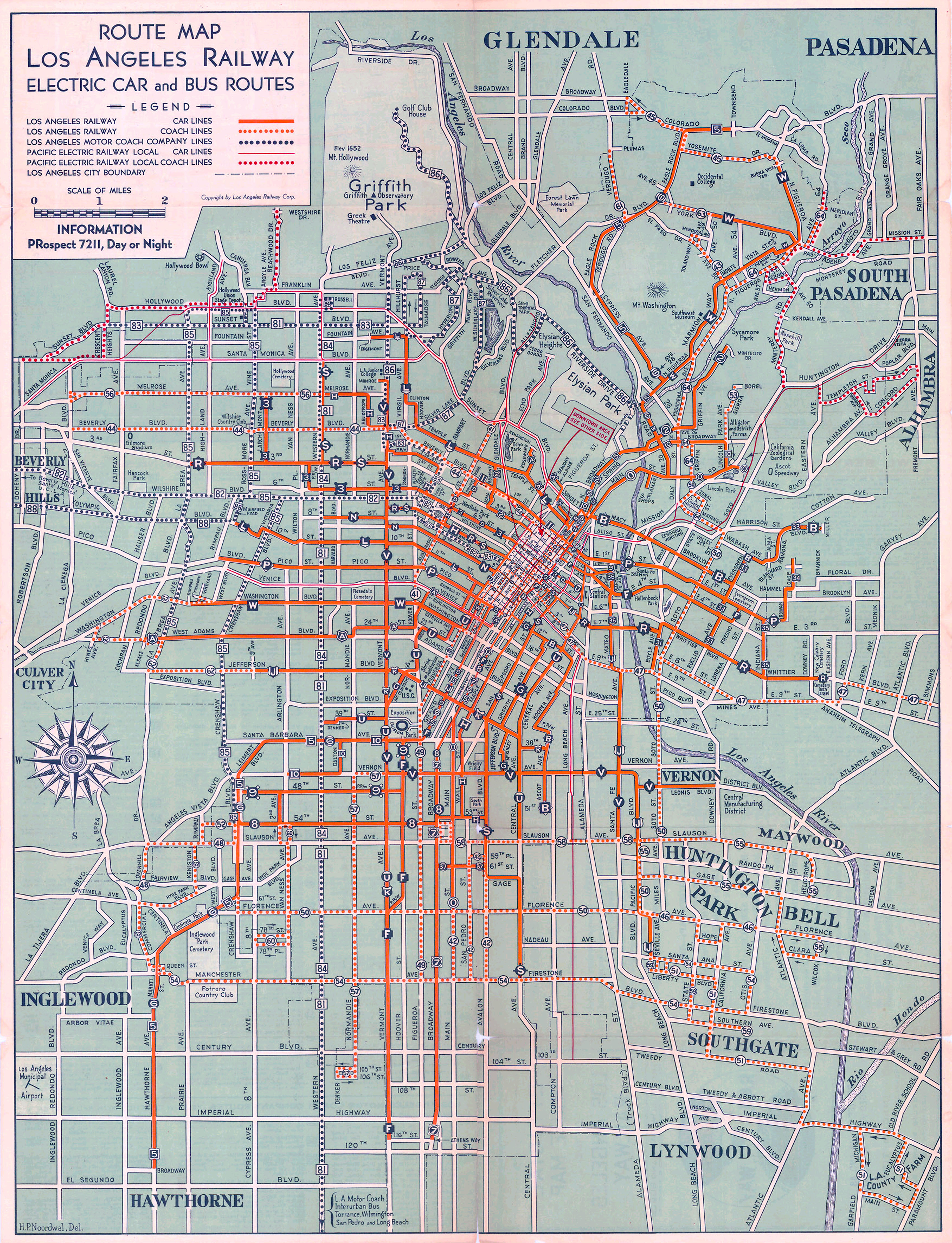1934 Map of Public Transport in LA LA TACO